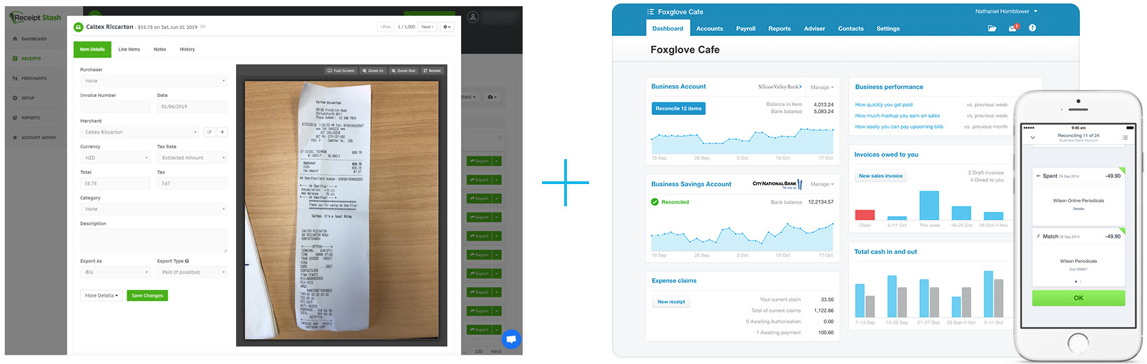 Automatically extract accounting data with the Receipt Stash mobile app or Dropbox, and send it your Xero account.